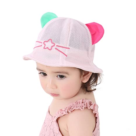 a1a6f7f35d5 Cute Cat Ear Sun Hats for Baby Girls Boys Breathable Mesh Baseball Cap  Summer Beach Bucket Hat for Toddler Kids 12-30 Months  Amazon.in  Baby