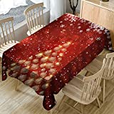 Smdoxi_home Faux Linen Rectangle Table Cloth Christmas Tablecloth Print Rectangle Table Cover Holiday Party Home Decor