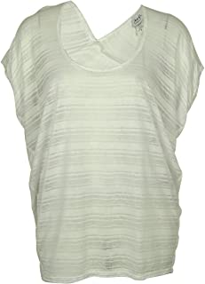 product image for Jordan Taylor White Short-Sleeve Illusion Stripe Cover Up Tunic M