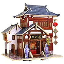 Robotime DIY House Wooden Craft Kits Miniature Global Style House for Children (China Tea House)