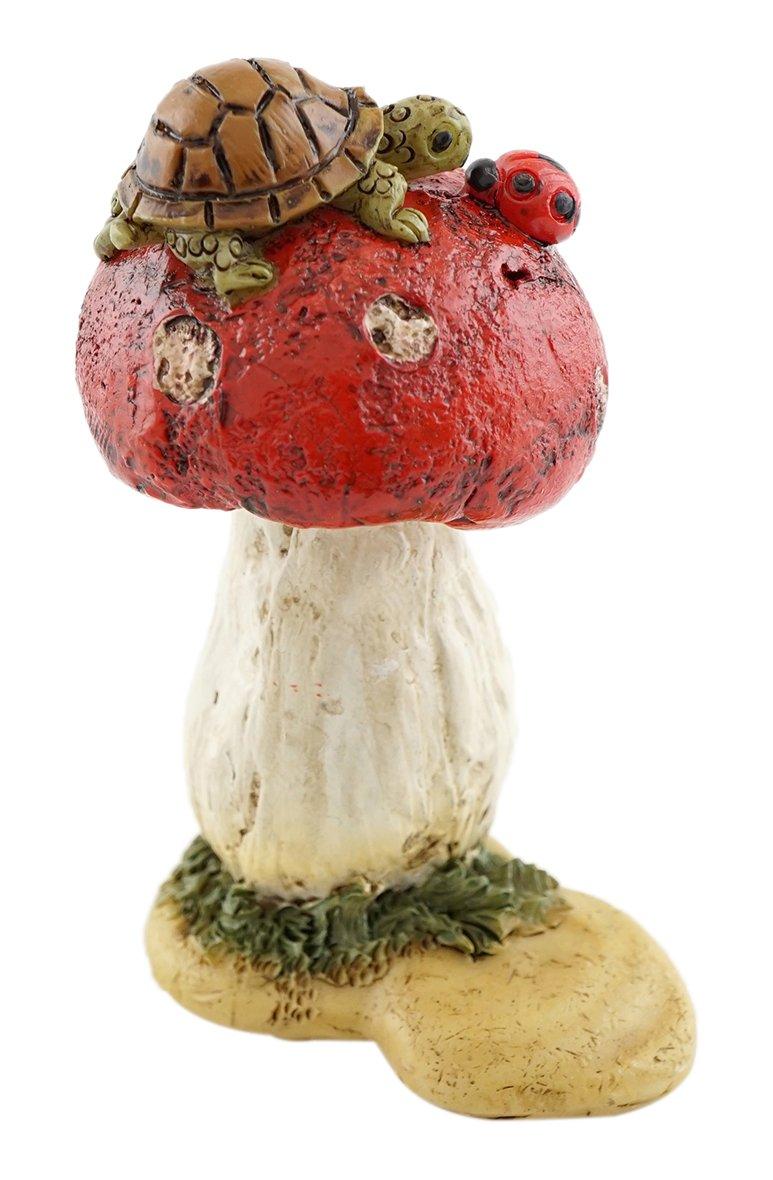 Top Collection Miniature Fairy Garden and Terrarium Mini Turtle on Mushroom Statue