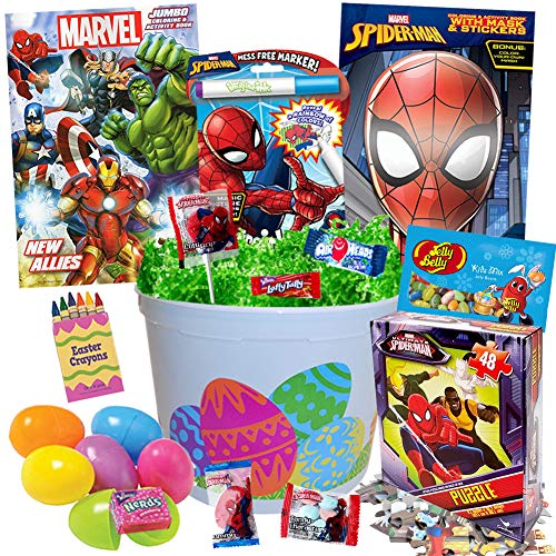 Spiderman Easter Basket 20pc Kit, Easter Eggs, Easter Candy, Spider Man Coloring Books, Jelly Beans, Spiderman Puzzle, Spiderman Activity Book, Spiderverse Mask, Easter Crayons, Easter Grass and More]()