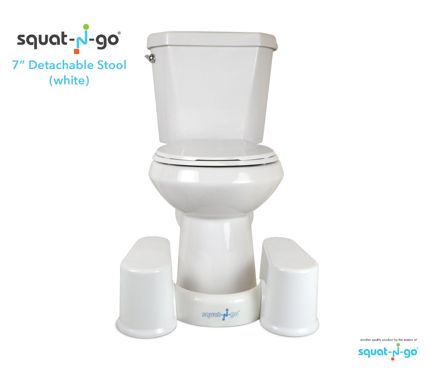 Squat N Go Space Saver Toilet Stool | The Only Detachable and Compact Bathroom Stool | Free Bathroom Guide | 7'' Fits ALL Toilets