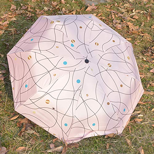 (Umbrella Men'S Lady Parasol Three Folding Umbrella Sunny Rain Dual-Use Sunscreen Sun Umbrella Anti-Ultraviolet Portable Travel Umbrella 21St Powder Lines Manual)