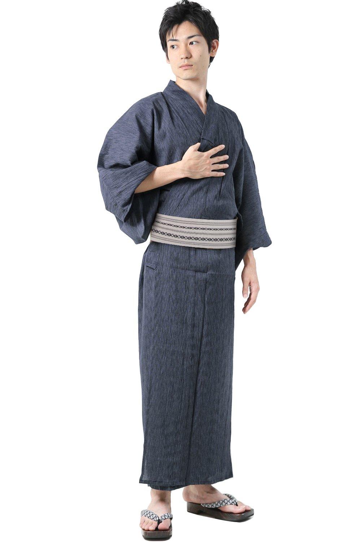 KYOETSU men's Japanese Striped Crepe Yukata Kimono set Cotton G (Large, G3.Navy(Normal type))
