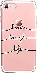 Girlscases® | iPhone 8/7 Hülle | Mit coolen Spruch Aufdruck Motiv | Love-Laugh-Life | Case transparente Schutzhülle | Farbe: schwarz |