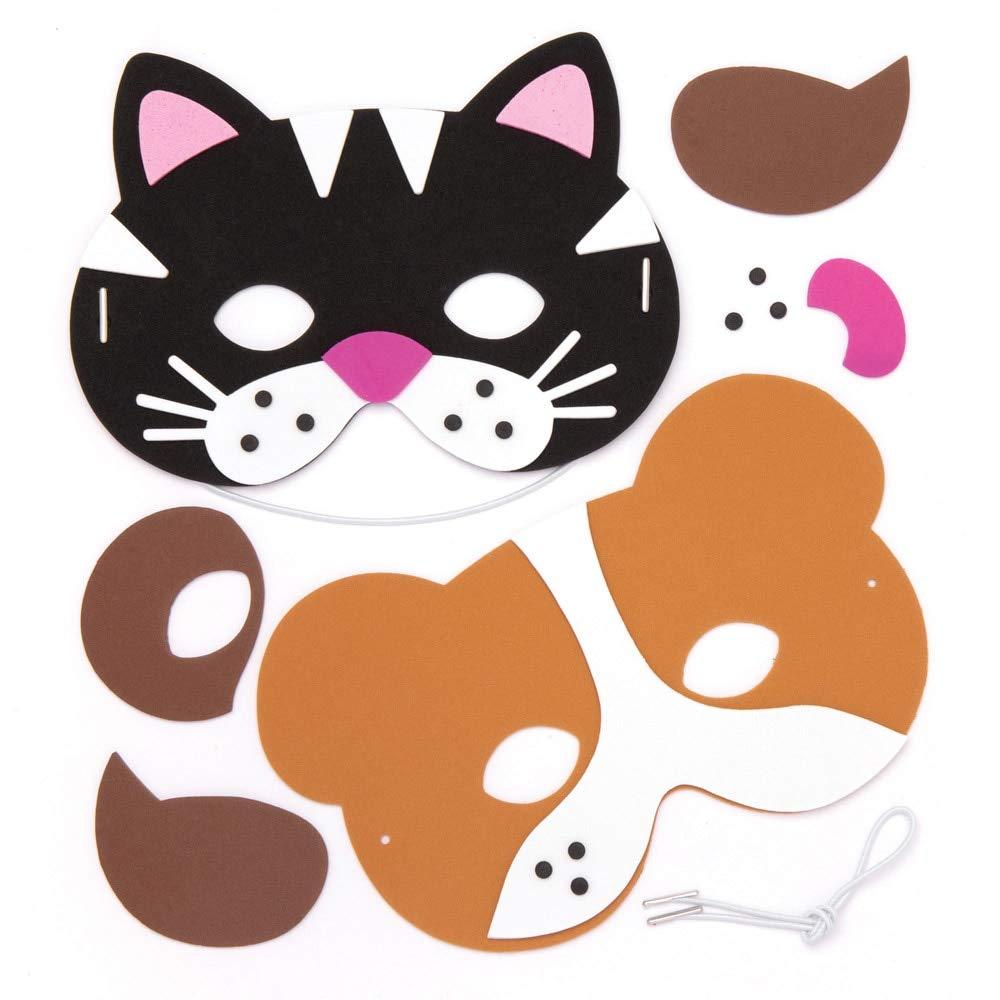 Baker Ross- Kits de caretas de espuma con forma de mascotas (Pack de 4) - Manualidades infantiles para decorar caretas variadas de mascotas y disfrazarse