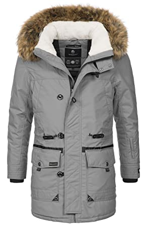 Marikoo Herren Winterjacke Kapuze Kunstfell Winter Jacke Parka warm lang  B629  Amazon.de  Bekleidung 38a5cd2212