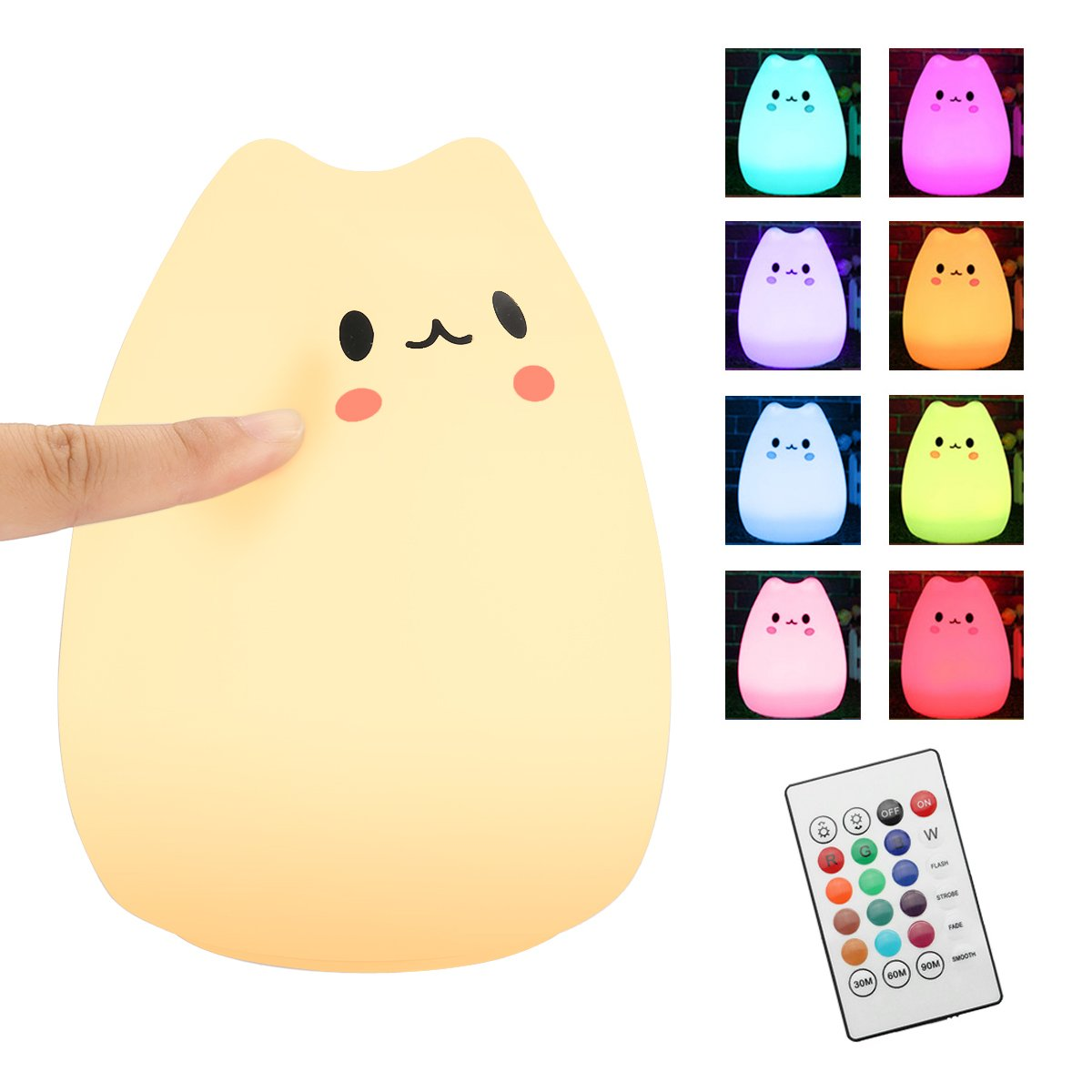 Children Night Light,Elfeland LED Cute Silicone Cat Lamp Kids Bedside Lights,Warm White/12+1 Colors/6 Lighting Modes/USB Rechargable,Sensitive Tap Control for Baby Bedroom Nursery Birthday Gift(with Remote)