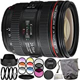 Canon EF 24-70mm f/4L IS USM Lens 10PC Filter Kit. Includes Canon EF 24-70mm f/4L IS USM Lens + 3PC Filter Kit (UV-CPL-FLD) + 4PC Macro Filter Set (+1,+2,+4,+10) + 6PC Graduated Filter Kit + More - International Version (No Warranty)