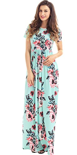 Roswear Women's Summer Casual Round Neck Ruched Short Sleeve Floral Maxi Dress with Pockets