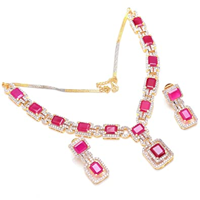 78d5d79d55 Buy Jewar Mandi Necklace Gold Plated Ruby Gemstone ad Necklace Set Real  Look Branded New Design Original Real Look Handmade Jewelry 25469 for Women  Girls ...