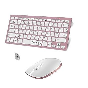 fenifox teclado inalámbrico y ratón, Ultra Slim con silencioso teclas de acceso directo para Mac