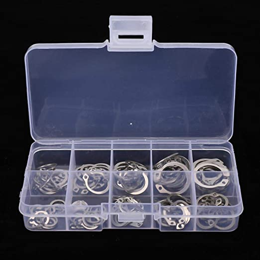 304 Stainless Steel C-Type Spring Elastic External Safety Snap Ring Circlip 100-Pack C Clips