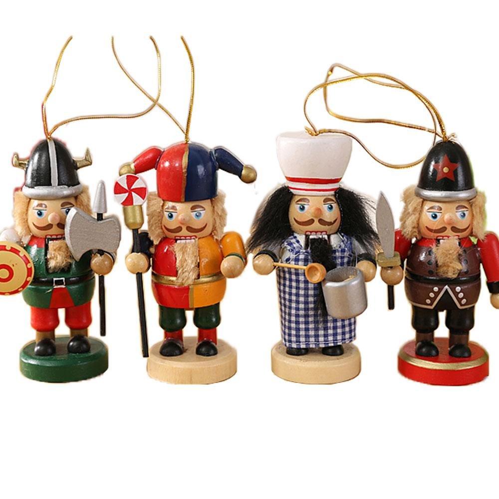 Amazon.com: gelvs 10 cm Heigh Mini Wooden Nutcracker Fun Christmas ...