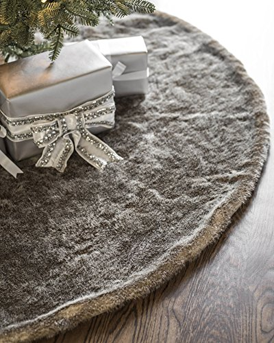 Balsam Hill Lodge Faux Fur Tree Skirt, 60 inches, Stone