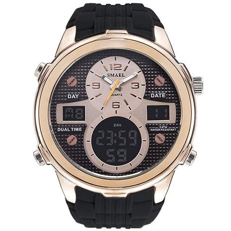 Mens Sports Analog Quartz Watch Dual Display Waterproof Digital Watches with LED Backlight relogio Masculino El