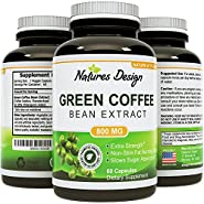 Pure Green Coffee Bean Extract - Highest Grade & Quality Antioxidant GCA (Standardized to 50% Chlorogenic Acid) for Men & Women (Best Formula) - Burns Both Fat and Sugar As Doctors Recommend - Guaranteed By Natures Design
