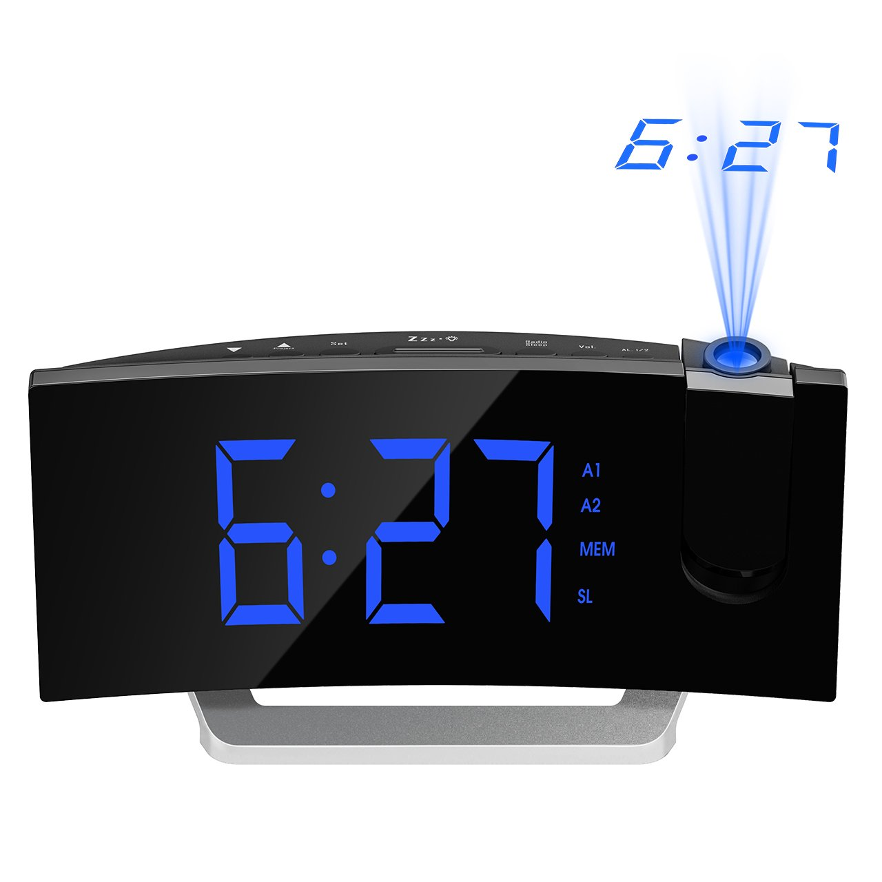 Mpow [GEN-3] Projection Alarm Clock, Curved-Screen Projection Clocks with 5'' Dimmer LED Display, Digital Clock for Bedroom, Dual Alarms with 30 Minute Ring Time, 12/24 Hour, Backup for Clock Setting by Mpow