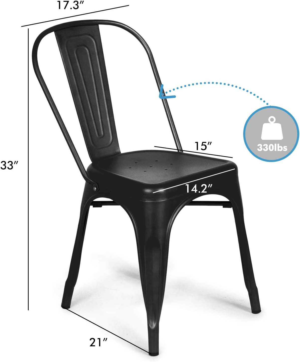 Gun Set of 4 Restaurant Stackable Side Chairs with Back Patio Indoor Use Chair for Farmhouse Kitchen BONZY HOME Metal Dining Chairs