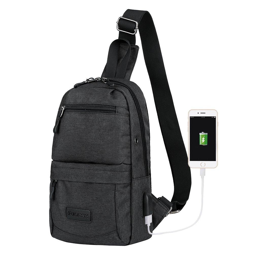Vbiger Sling Shoulder Backpack Crossbody Bag Chest Bag Daypack USB Charging Port Men Women Hiking Sport Travel (3-Black)
