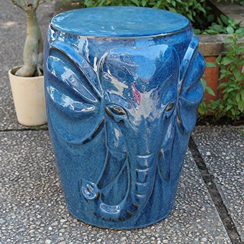 International Caravan OPG-064-NV-IC Furniture Piece Wild Elephant Drum Ceramic Garden Stool, Navy Blue