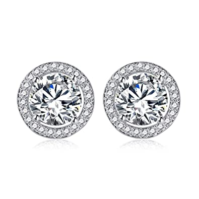 b6a82dec9 Womens Round Stud Earrings Sterling Silver Women Earrings Christmas  Sparkling Earrings Small White Zircon Contains Round