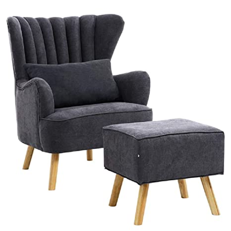 Awesome Warmiehomy Modern Fabric Armchair Wing Back Occasional Chair Sofa Lounge Tub Chair Fireside Chair With Footstool Living Room Bedroom Office Furniture Pabps2019 Chair Design Images Pabps2019Com