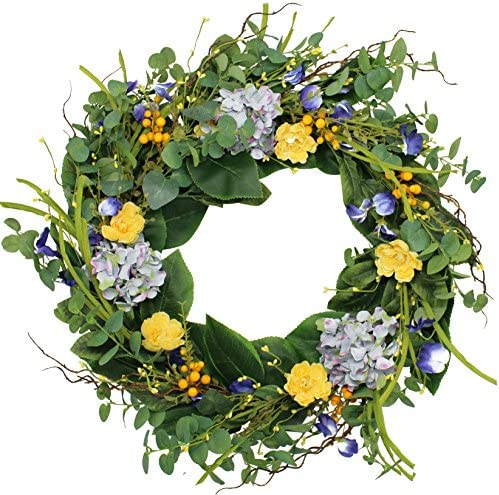 The Wreath Depot Aftonshire Silk Spring Front Door Wreath 24 Inch Beautiful Handcrafted Wreath Design White Storage Gift Box Included Home Kitchen Amazon Com
