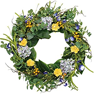 The Wreath Depot Aftonshire Silk Spring Front Door Wreath 24 Inch, Beautiful Handcrafted Wreath Design, White Storage Gift Box Included 82