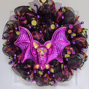 Halloween Bat Deco Mesh Wreath With Moving Eyes Handmade