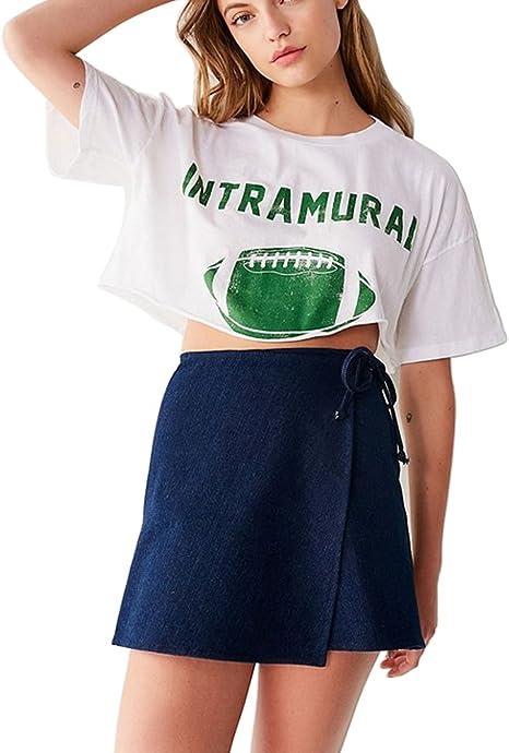 Image ofBlanco Camisetas Mujer Casual Moda Basicas Print Tops Ropa (Blanco 10, Small)