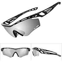BATFOX Polarized Sports Sunglasses, Memory-Metal Flexible Adjustment Anti-Slip/Good Fit Glasses Leg, 20 Air Vents Frame for Cycling Fishing Baseball and Other Sports