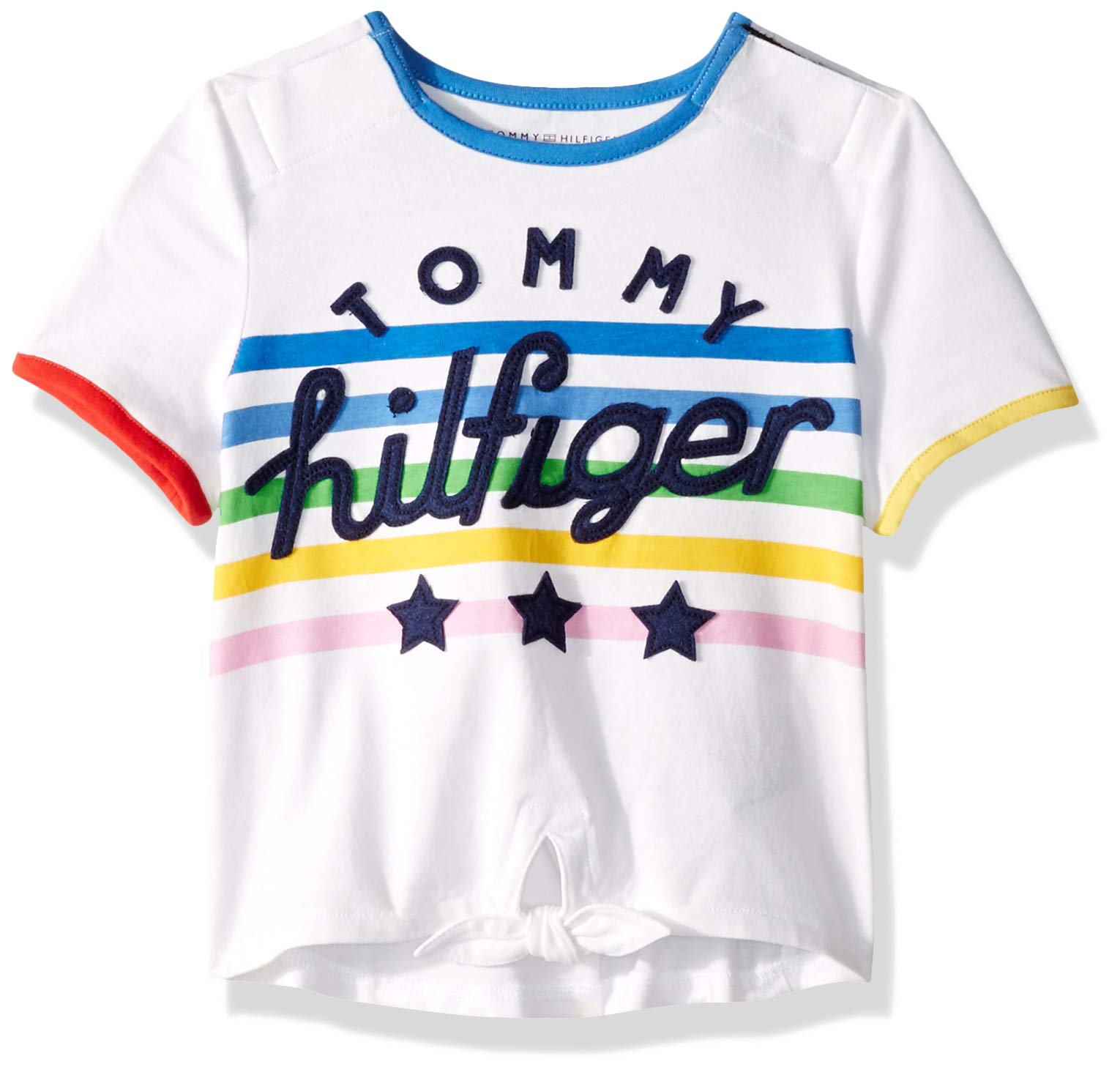 Tommy Hilfiger Girls' Adaptive Tie Front T Shirt with Velcro Brand Closure at Shoulders