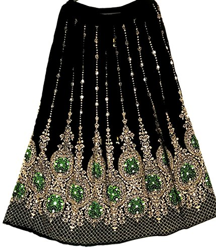 paillettes World inset Style longue hippie Black with danse Ltd Dancers Green Gold indien Jupe UK Seller ventre du dqnYwBT