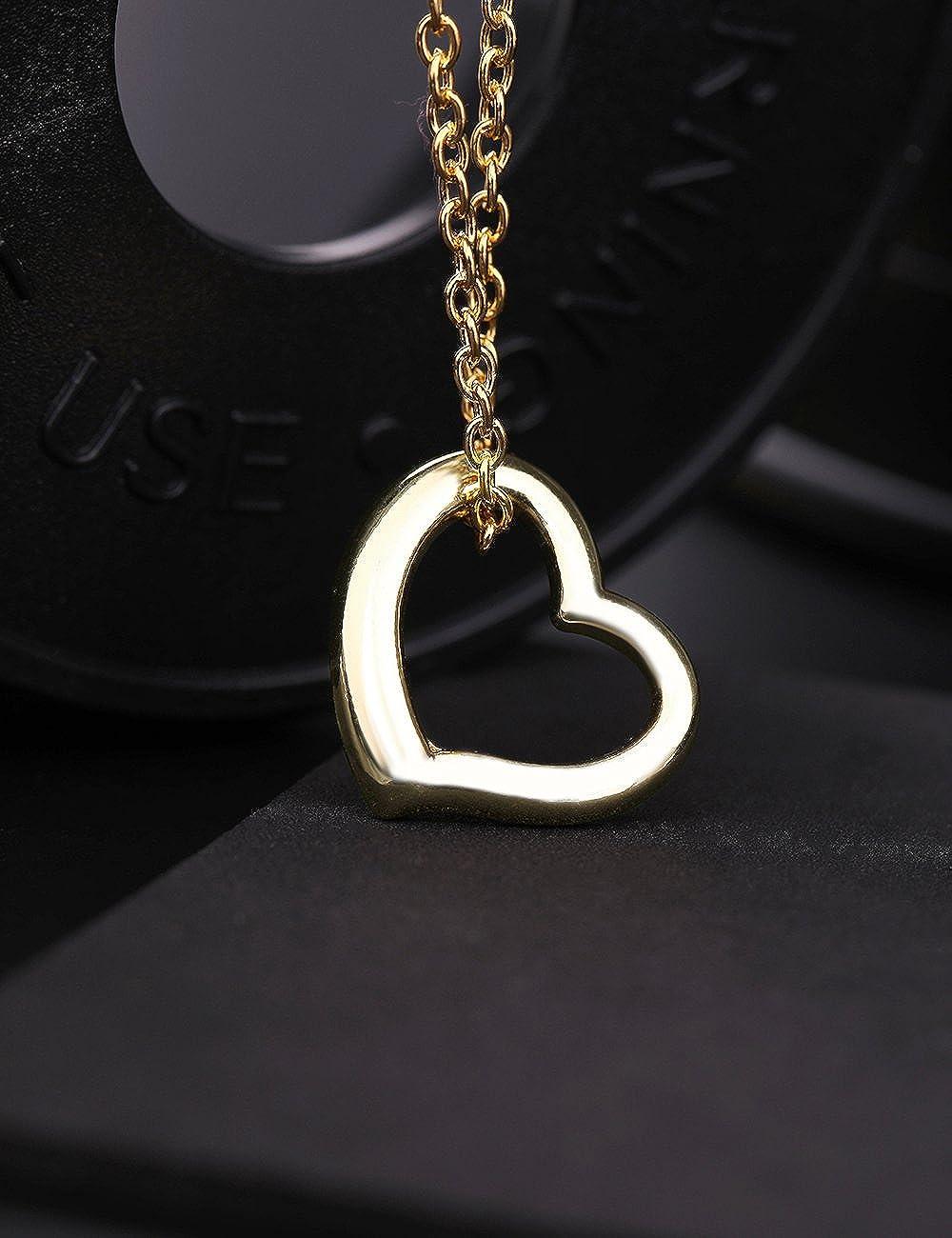 Fashion Simple Love Open Heart Shape Pendant Necklace Link Chain