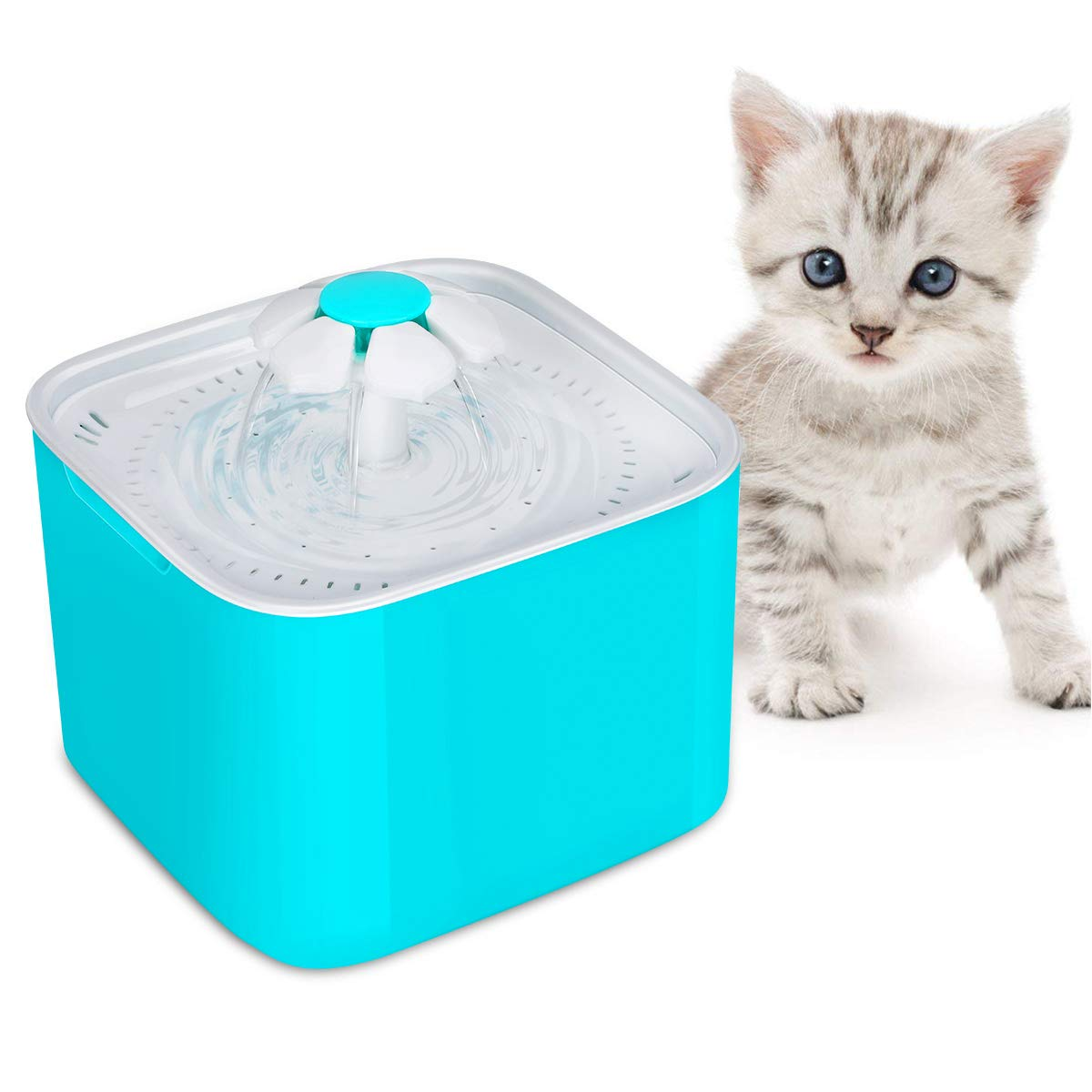 bluee HURRISE Flower Fountain 2L Pet Drinking Fountain Pet Water Fountain Dispenser for Cats and Small Dogs (bluee)
