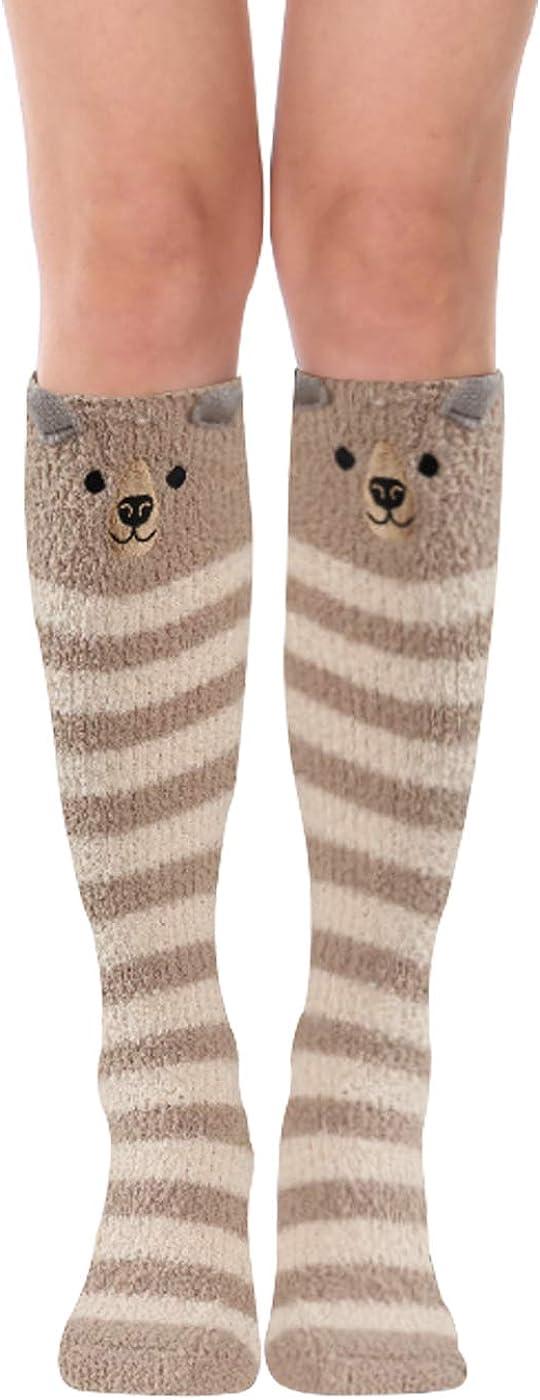Novelty Women Girls Calf Length Soft Socks Winter Cute Cartoon Cat Print Fun Sox