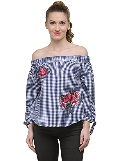 7106ebe90d17a6 NAVY WHITE GINGHAM OFF SHOULDER TOP WITH APPLIQUE  Amazon.in  Clothing    Accessories