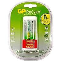 Pilha Recarregável Recyko AA 2Pcs, Carregador Portátil USB U211 Grátis em Blister, GP Batteries, GPRHOU211027, Branco