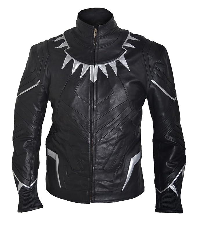 ESHAL CA Civil War Black Panther Sheep Leather Cosplay Jacket XXS-5XL Black