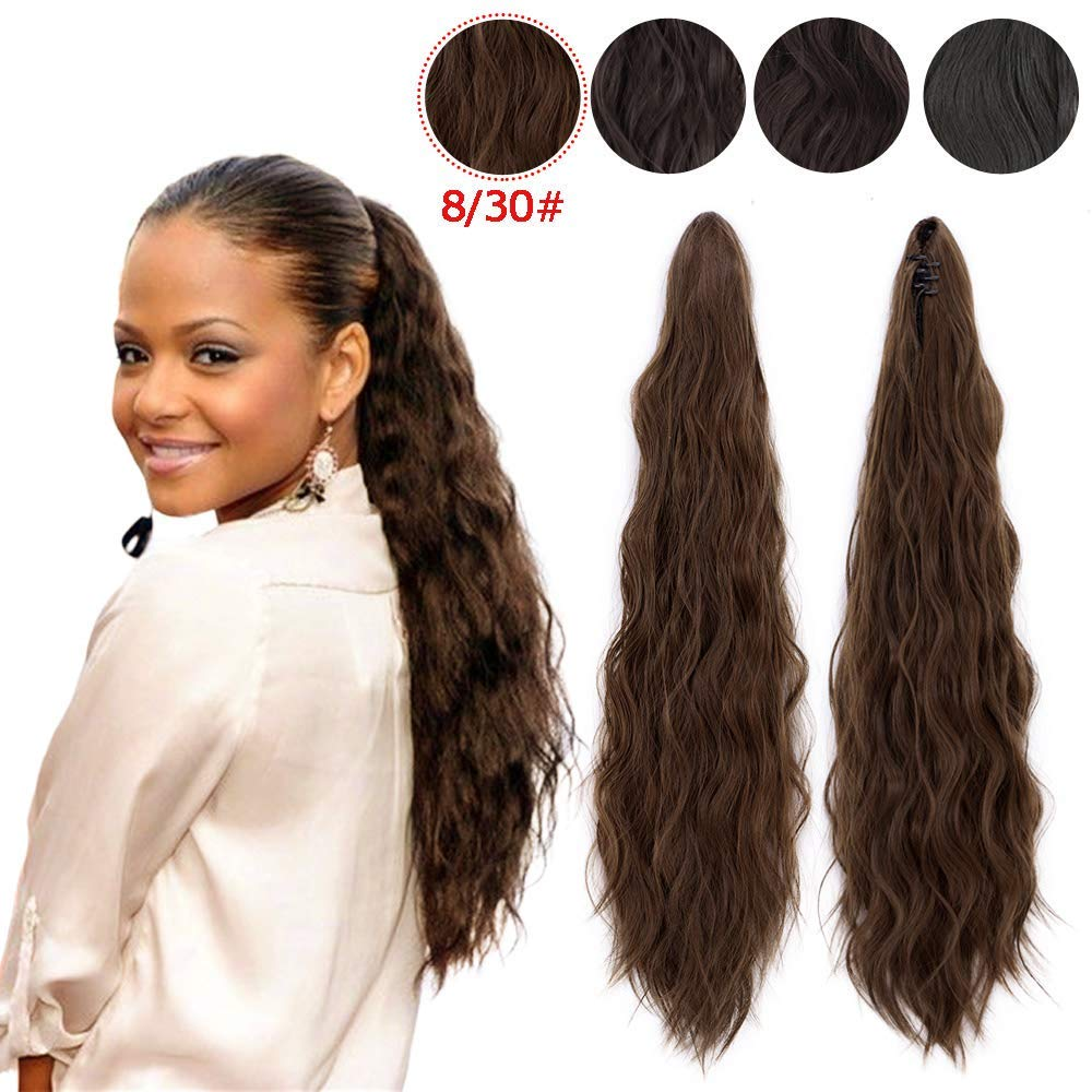 Synthetic Curly Ponytail Extension Drawstring Wavy Ponytails Clip in Claw Ponytail Extensions for Black Women Brown Color Synthetic Curly Ponytail Extension(8/30#) by ENTRANCED STYLES