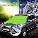 FLY5D Car Windshield Snow Cover Sun Shade Protector Kit for All Vehicles Green 78.7x37.4 inch (Green)
