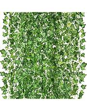 Peoxio konstgjorda hängande växter falska vinstockar silke murgröna blad grönska girlang för bröllop kök vägg utomhus fest festival dekor paket med 12 (grön)