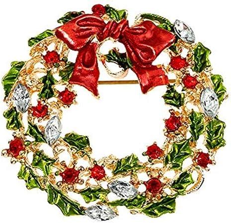 Broche Noel Skyeye Broche de Noël en forme de couronne de Noël pour châle ou