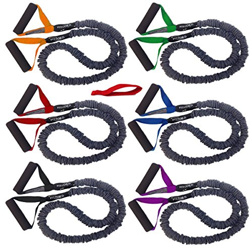 FitCord 6 Pack - Premium, Covered Resistance Bands for Fitness and Exercise. Includes 6 Resistance Levels (7lbs-55lbs) and Door Anchor. by FitCord Resistance Bands