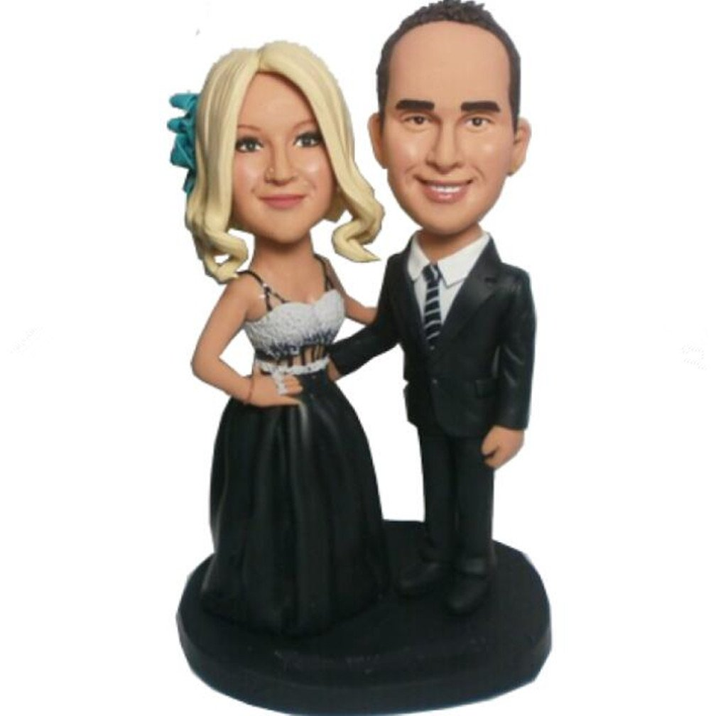 Custom Crace Couple Wedding Bobble head Polymer Clay Handmade Bobbleheads Cake Toppers
