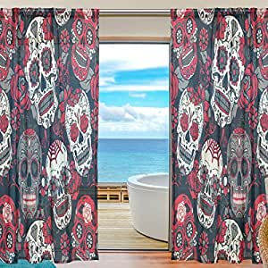 "WOZO Custom Sugar Skull Floral Sheer Panel Pair Curtains 55""x78"", Day of the Dead Modern Modern Window Treatment Panel Collection for Living Room Bedroom Home Decor"
