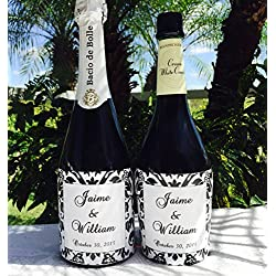 12 GLOSSY DAMASK THEMED Champagne or Wine bottle labels/stickers/wrappers Personalized for WEDDING or party FAVORS, self adhesive