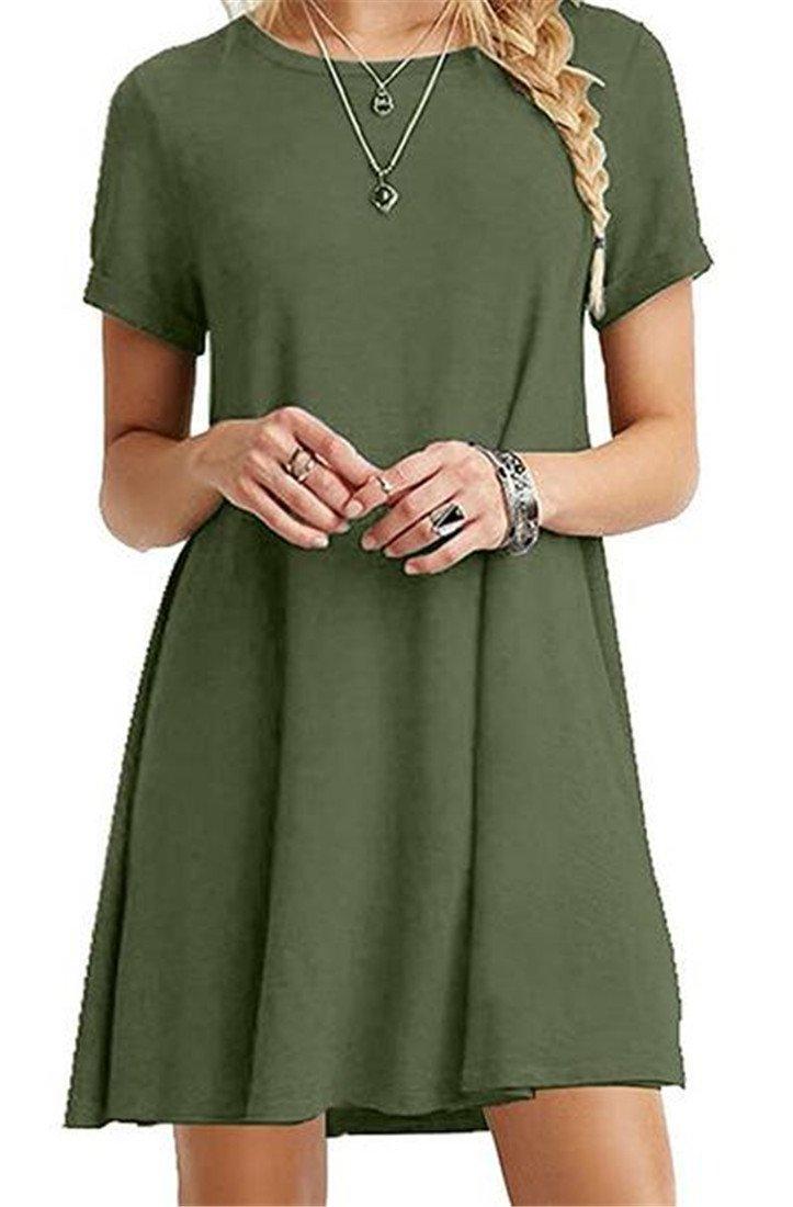 WANSHIYISHE Women Basic Plain Short Sleeve Pure Color Simple T-Shirt Loose Dress Green US XS